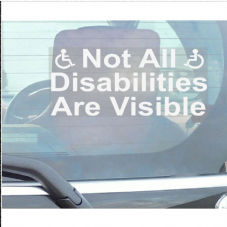 1 x Not All Disabilities are Visible-Window Sticker for Car,Van,Truck,Vehicle.Disability,Disabled,Mobility,Self Adhesive Vinyl Sign Handicapped Logo